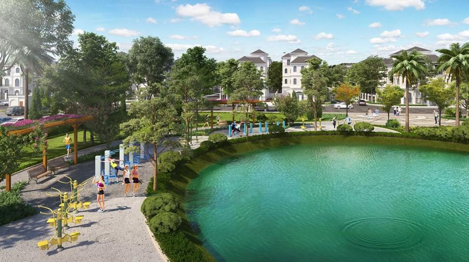 Đường đi dạo ven hồ dự án Vinhomes Green Villas