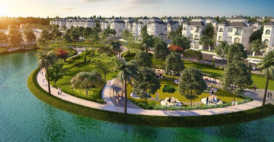 Phối cảnh 3D biệt thự ven hồ dự án Vinhomes Green Villas
