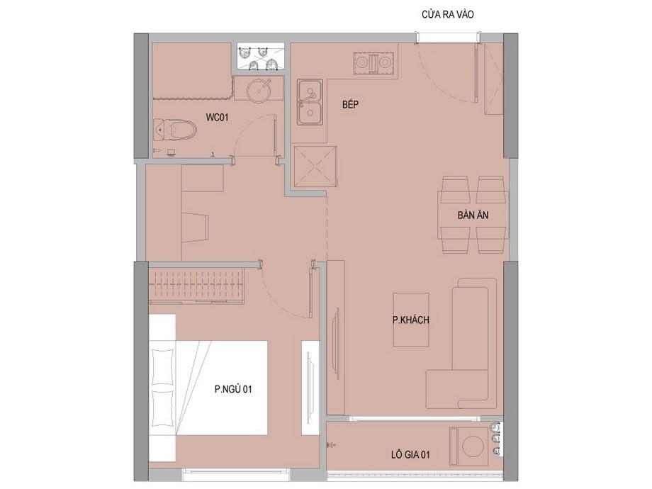 Mặt bằng căn 1 phòng ngủ dự án Vinhomes New Center Hà Tĩnh