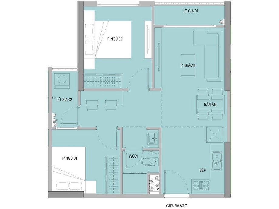 Mặt bằng căn 2 phòng ngủ + 1 vệ sinh dự án Vinhomes New Center Hà Tĩnh