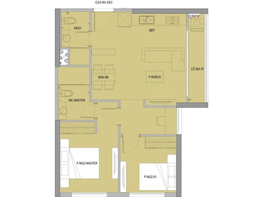 Mặt bằng căn 2 phòng ngủ + 2 vệ sinh dự án Vinhomes New Center Hà Tĩnh