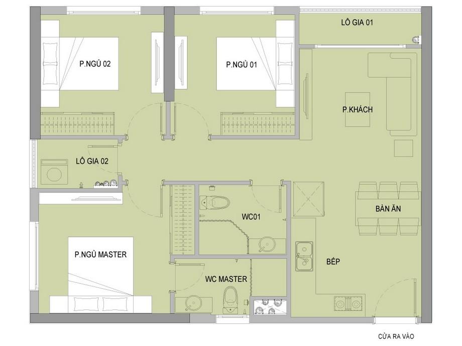 Mặt bằng căn 3 phòng ngủ + 2 vệ sinh dự án Vinhomes New Center Hà Tĩnh