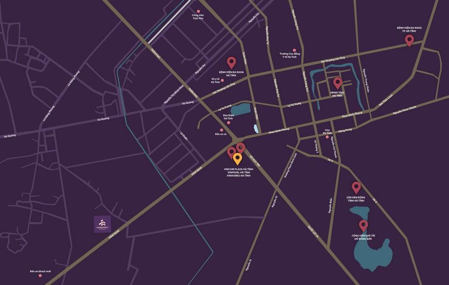 Vị trí dự án Vinhomes New Center Hà Tĩnh