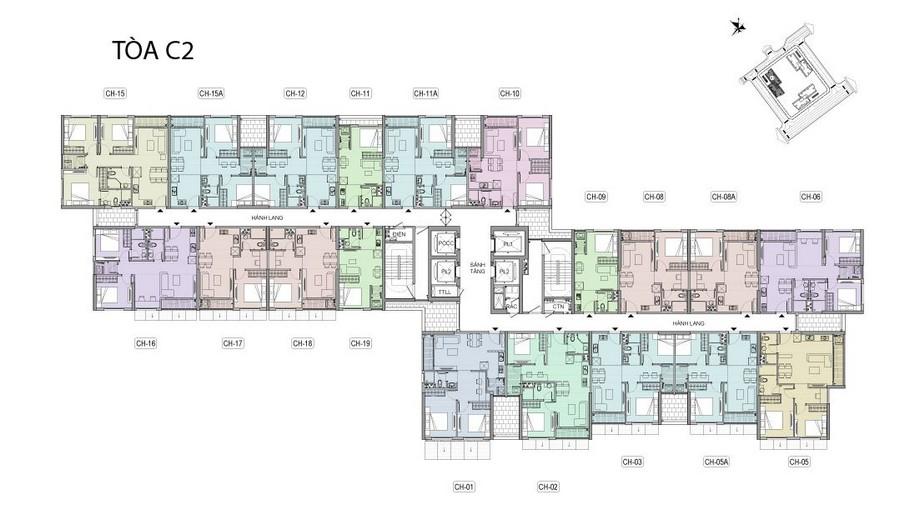 Mặt bằng tầng điển hình tòa C2 dự án Vinhomes New Center Hà Tĩnh