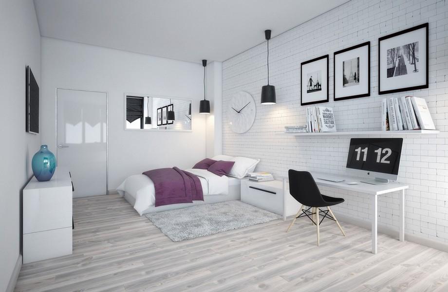 Thiết kế phòng ngủ chung cư 70m2 đẹp phong cách Scandinavian với tông màu trắng chủ đạo