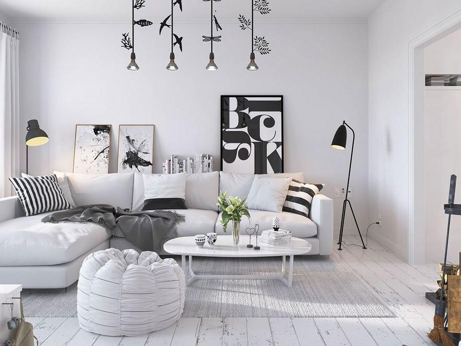 Thiết kế chung cư 70m2 đẹp phong cách Scandinavian với nét đặc trưng là tông màu sáng như trắng, xám...