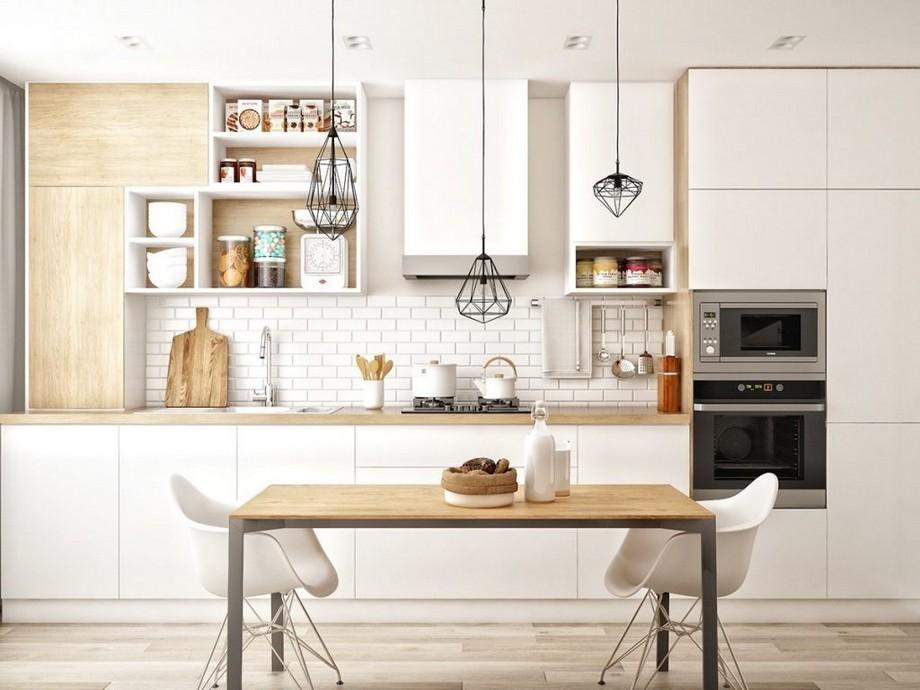 Thiết kế phòng bếp chung cư 70m2 đẹp phong cách Scandinavian với chất liệu gỗ tự nhiên chủ đạo