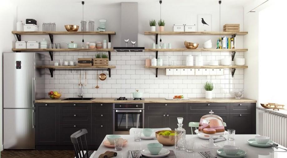 Thiết kế phòng bếp chung cư 70m2 đẹp phong cách Scandinavian có sự kết hợp của màu trắng và màu đen
