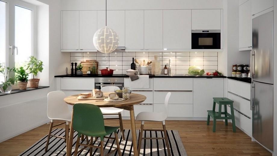 Thiết kế phòng bếp chung cư 70m2 đẹp phong cách Scandinavian với tủ bếp màu trắng thanh lịch