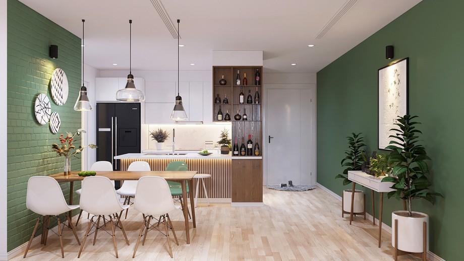 Thiết kế khu vực ăn ở chung cư 70m2 đẹp phong cách Scandinavian với bức tường họa tiết gạch sơn màu xanh nhẹ nhàng