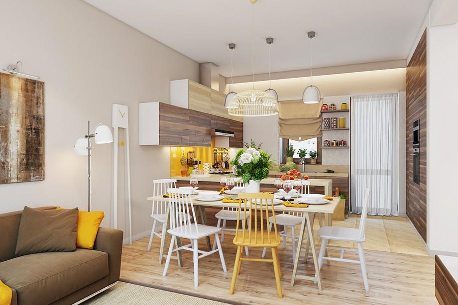 Thiết kế phòng ăn chung cư 70m2 với bộ bàn ghế ăn đẹp cho 6 người phong cách Scandinavian
