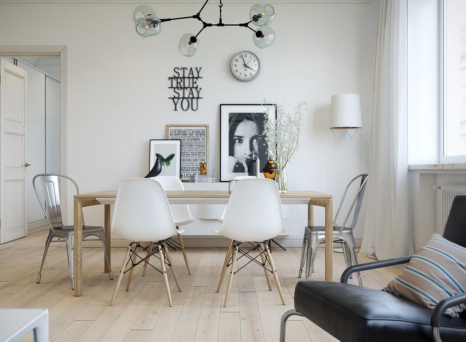 Thiết kế phòng ăn chung cư 70m2 đẹp phong cách Scandinavian với các đường nét thiết kế đơn giản, thanh thoát và sáng sủa