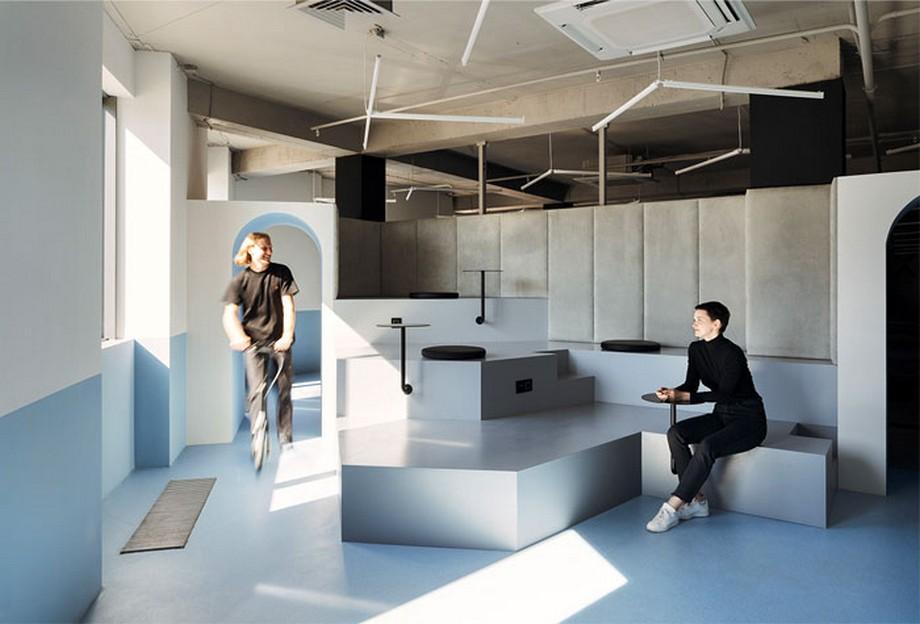 Ý tưởng trang trí nội thất khu vực họp nhóm với tông màu xanh và xám đẹp