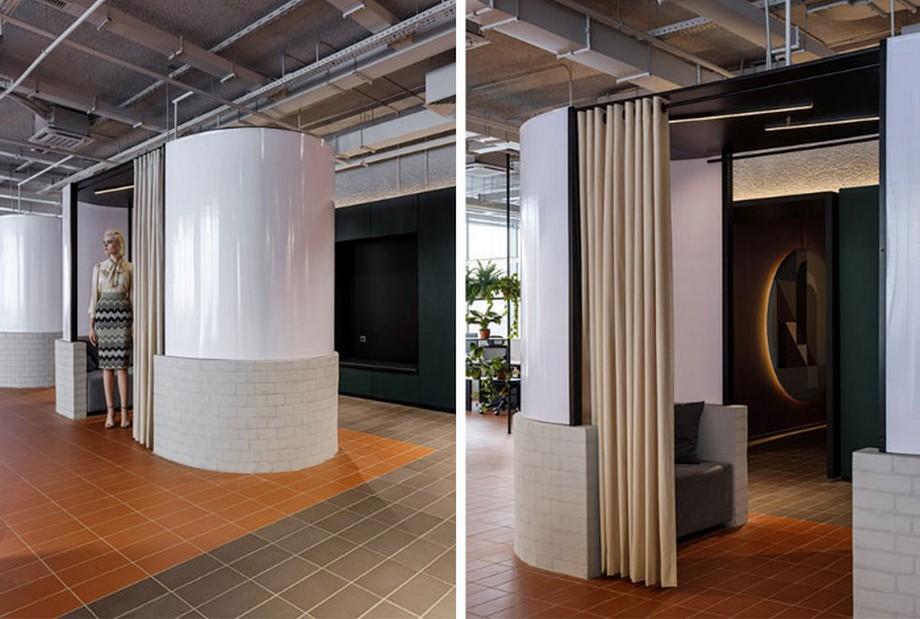 Ý tưởng trang trí nội thất văn phòng với các ô phòng nhỏ cho 2-4 người có rèm