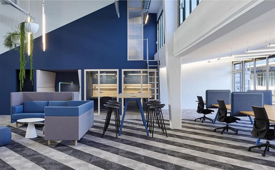 Ý tưởng trang trí nội thất văn phòng với tông màu xanh đẹp mắt