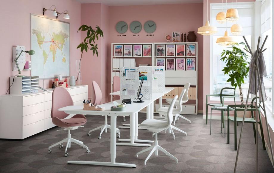 Thiết kế văn phòng du lịch tông màu hồng pastel nữ tính