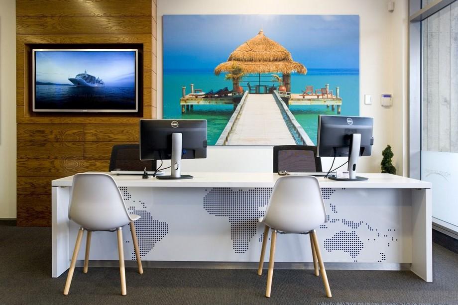 Thiết kế văn phòng du lịch với hình ảnh của điểm du lịch
