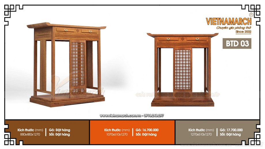 Bán bàn thờ đứng hiện đại có ngăn kéo và hoa văn nhỏ BTD 03 cho Tòa Licogi 21 Đại Từ