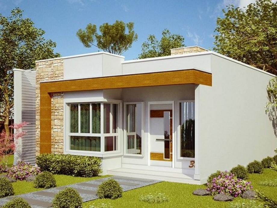 Thiết kế nhà cấp 4 có sân thượng hiện đại với vẻ ngoàitrẻ trung bởi sự kết hợp các chất liệu như kính, gỗ và đá rối ốp tường