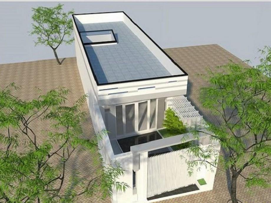 Mẫu nhà cấp 4 có sân thượng thiết kế kiểu nhà ống, có khoảng sân nhỏ trước nhà mang đến sự thông thoáng cho căn nhà