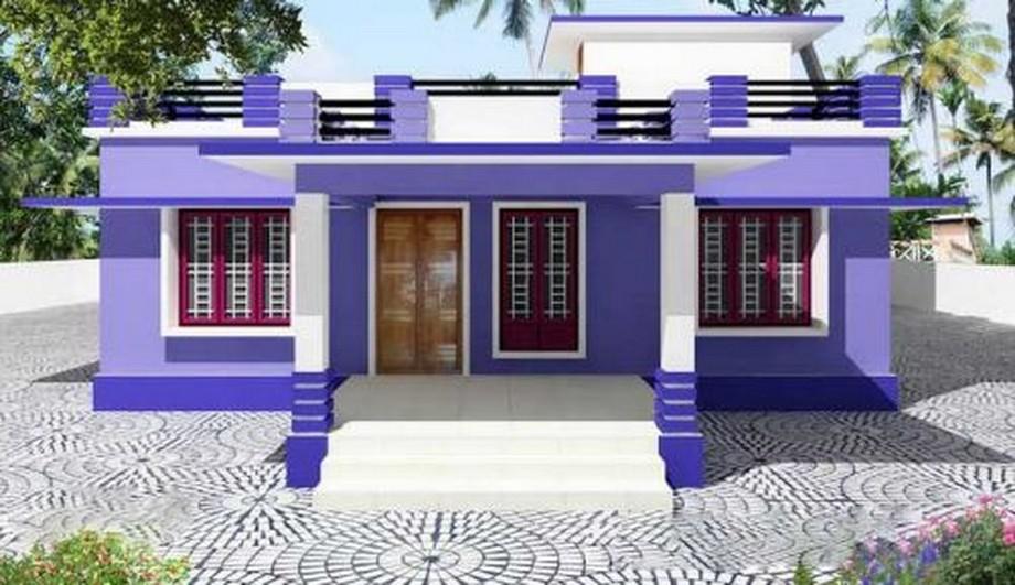 Thiết kế nhà cấp 4 có sân thượng với màu sơn tím sặc sỡ, nổi bật