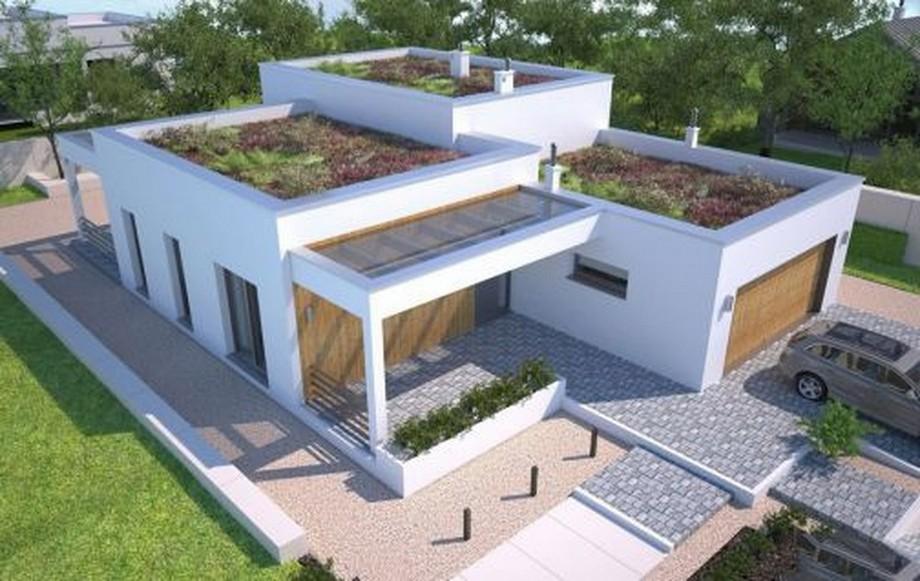 Thiết kế nhà cấp 4 hiện đại có sân thượng được sử dụng để trồng rau, cây xanh...