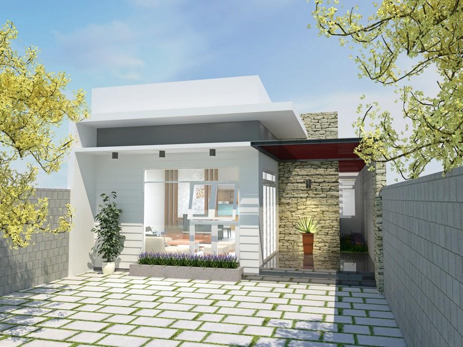 Thiết kế nhà cấp 4 có sân thượngphong cách tối giản, hiện đại, trẻ trung với sân vườn