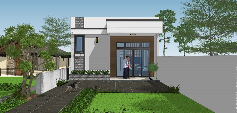 Thiết kế nhà cấp 4 có sân thượng hiện đại, trẻ trung, mặt tiền sử dụngmảng tường ốp đá đen