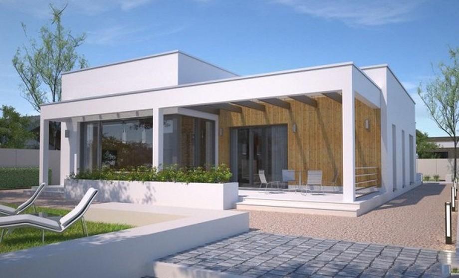 Thiết kế nhà cấp 4 có sân thượng hiện đại, phần mặt tiền được ốp nhựa giả gỗ có khả năng chống chịu được mưa nắng