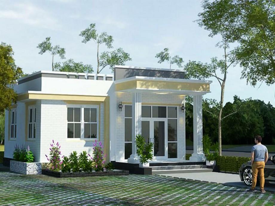 Mẫu nhà cấp 4 có sân thượng được nhiều người yêu thích bởikiến trúc hiện đại tối giản, gam màu sáng