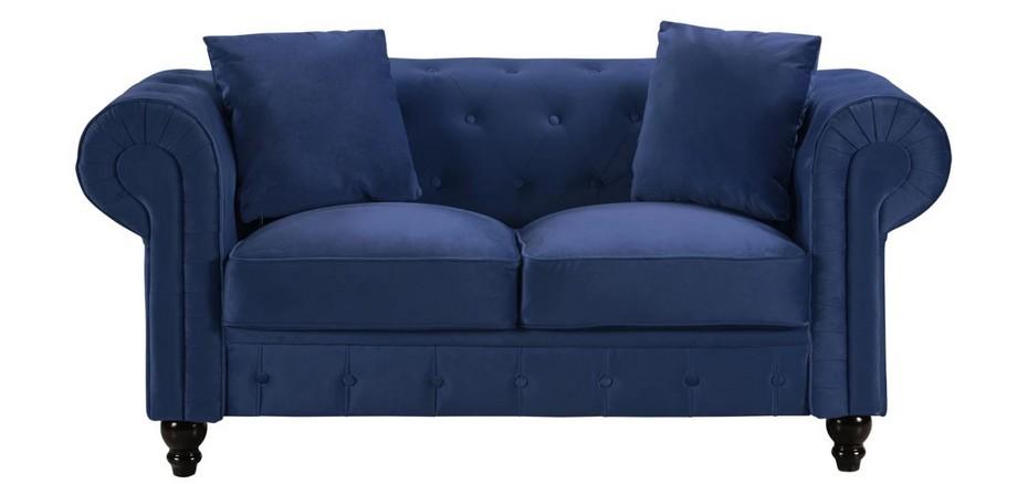 Mẫu sofa đôi chất liệu nhung màu xanh