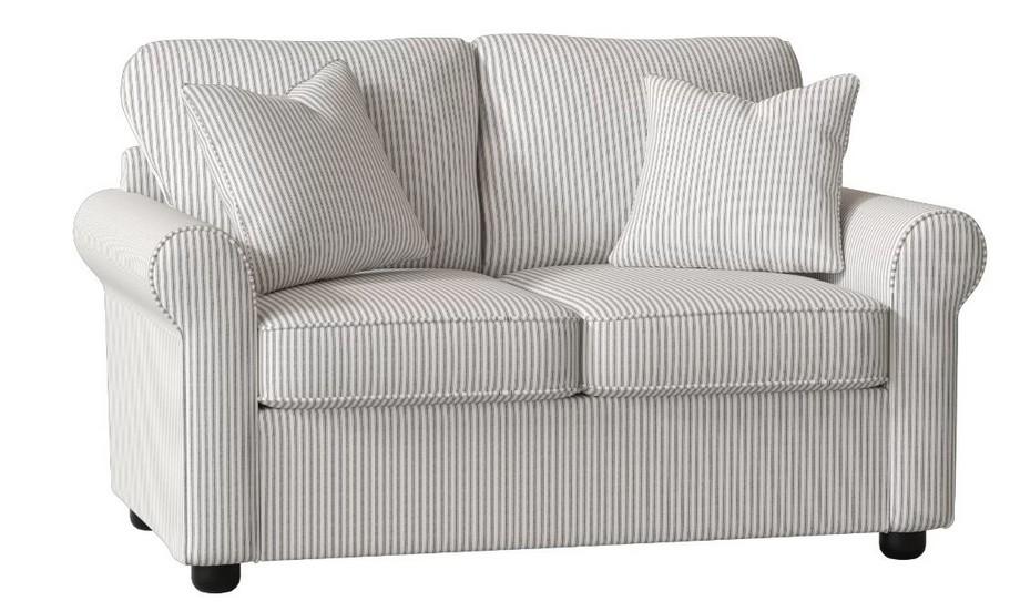 Mẫu sofa đôi chất liệu vải nỉ kẻ sọc trẻ trung