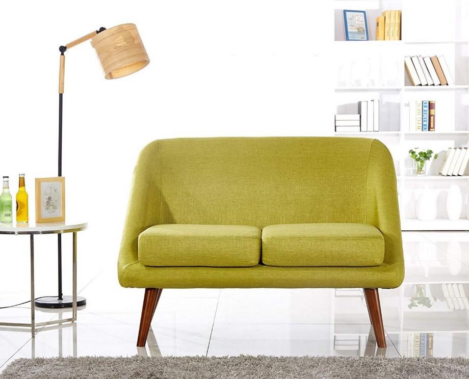 Mẫu sofa đôi màu vàng nổi bật cho phòng khách hiện đại