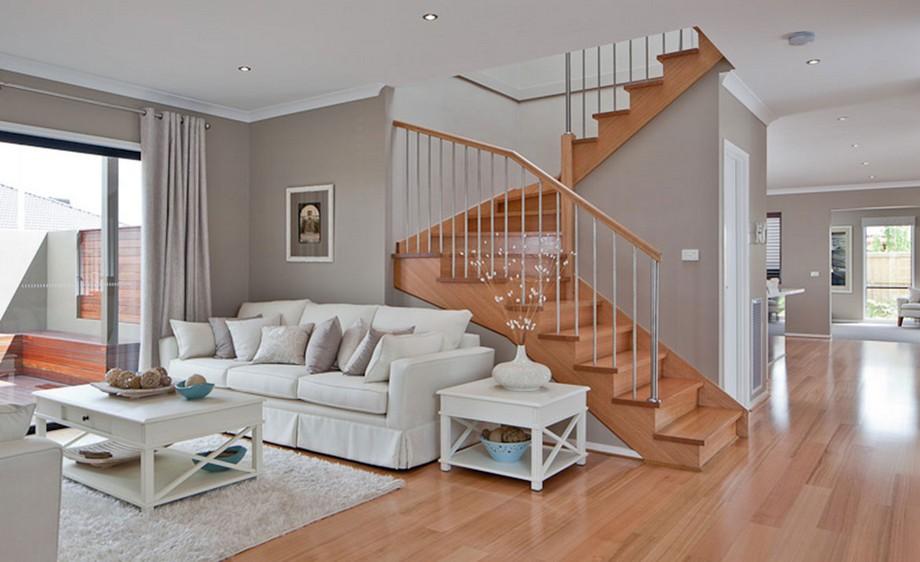 Thiết kế cầu thang đẹp cho biệt thự hiện đại chất liệu gỗ và sắt kiểu dáng đơn giản