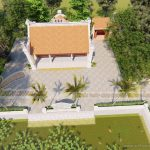 Hồ sơ thiết kế nhà thờ họ- từ đường 3 gian 2 mái kèm nhà bếp với hồ nước, cây cảnh đẹp thanh bình ở Hưng Yên