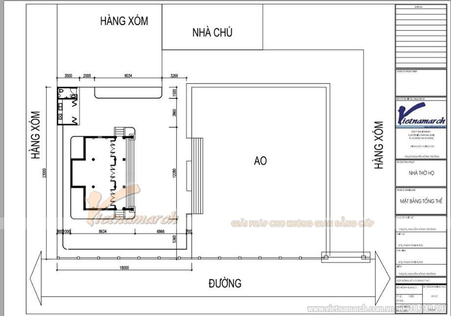 Mặt bằng trong hồ sơ thiết kế nhà thờ họ 3 gian 2 mái