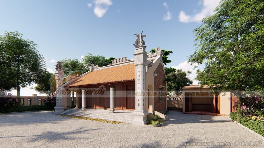 Thiết kế thi công mẫu nhà thờ họ 3 gian 2 mái đẹp diện tích 1 nghìn m2