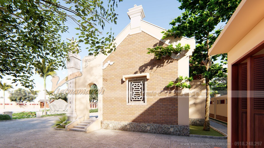 Hồ sơ thiết kế nhà thờ họ 3 gian 2 mái với khuôn viên rộng đẹp trong lành