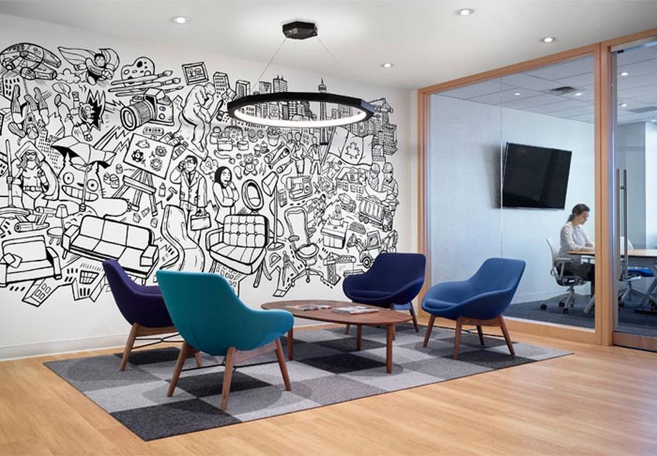 Thiết kế khu vực tiếp khách văn phòng công nghệ thông tin Informa ở Canada