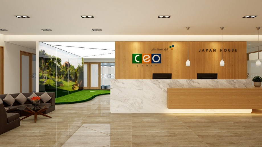 Vật liệu đá ứng dụng ở quầy lễ tân trong thiết kế nội thất văn phòng