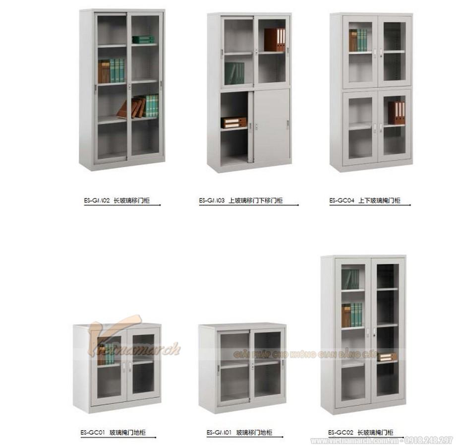 Mẫu tủ tài liệu văn phòng kim loại kết hợp cánh kính siêu đẹp cho văn phòng, không gian làm việc chung