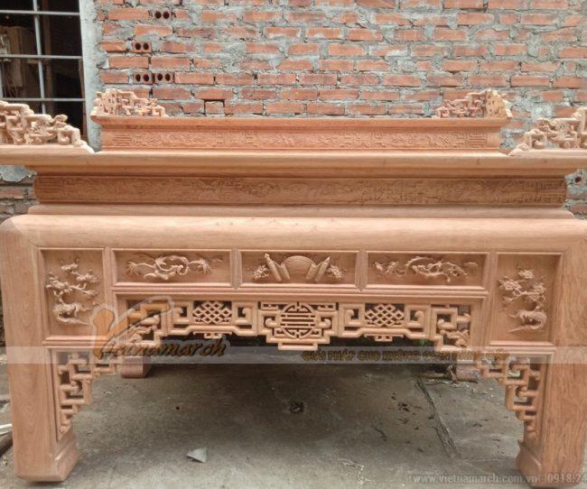 Làm mộc bàn thờ cấp 2 cho khách đặt đóng theo thiết kế tại Quảng Ninh