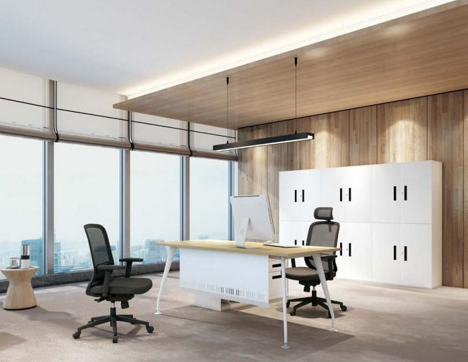 Mẫu bàn giám đốc lắp ghép hiện đại D30 màu trắng có tấm chắn, mặt bàn gỗ cho văn phòng