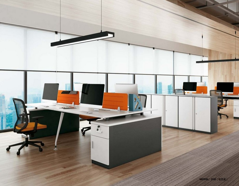 Mẫu bàn làm việc lắp ghép hiện đại D30 kết hợp với tủ cho văn phòng