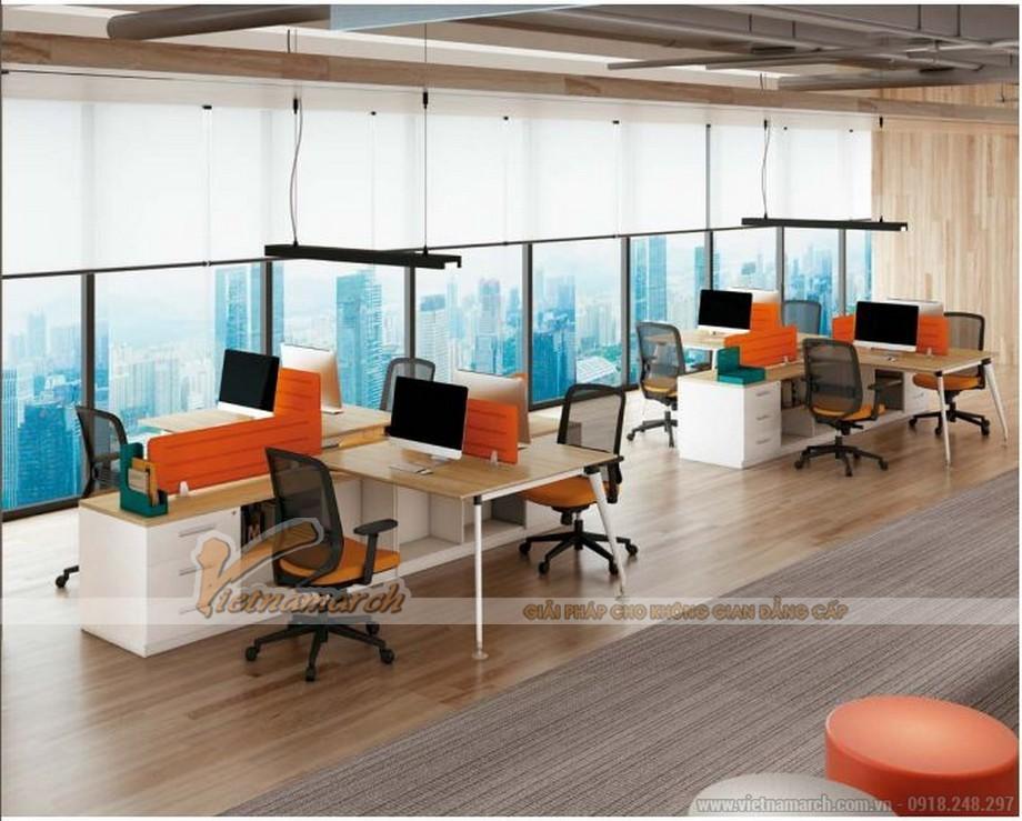 Mẫu bàn làm việc lắp ghép hiện đại D30 kết hợp tủ ở giữa cho văn phòng làm việc