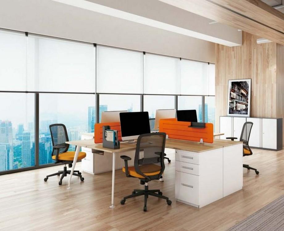 Mẫu bàn làm việc lắp ghép hiện đại D30 cho văn phòng kiểu dáng vát tròn