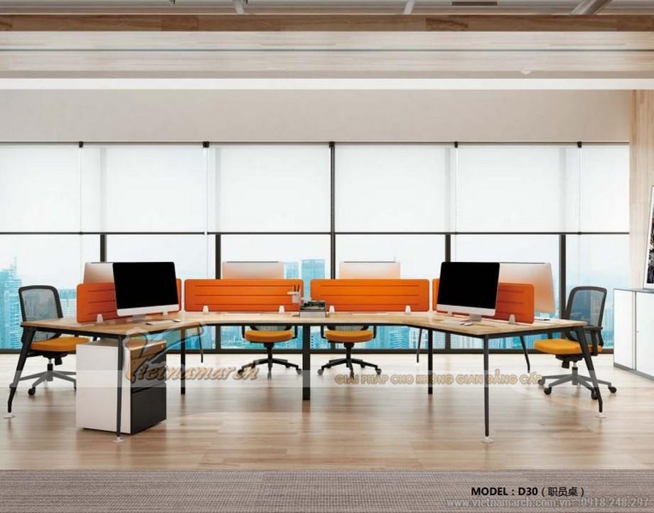 Mẫu bàn làm việc lắp ghép hiện đại D30 cho văn phòng với kiểu dáng phong phú