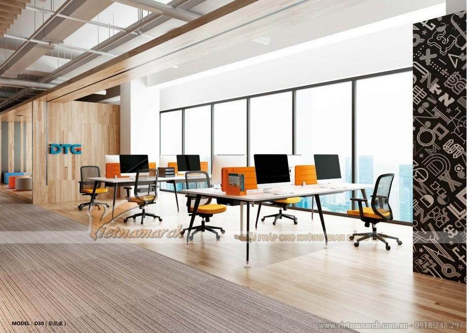 Mẫu bàn làm việc lắp ghép hiện đại D30 cho không gian làm việc chung