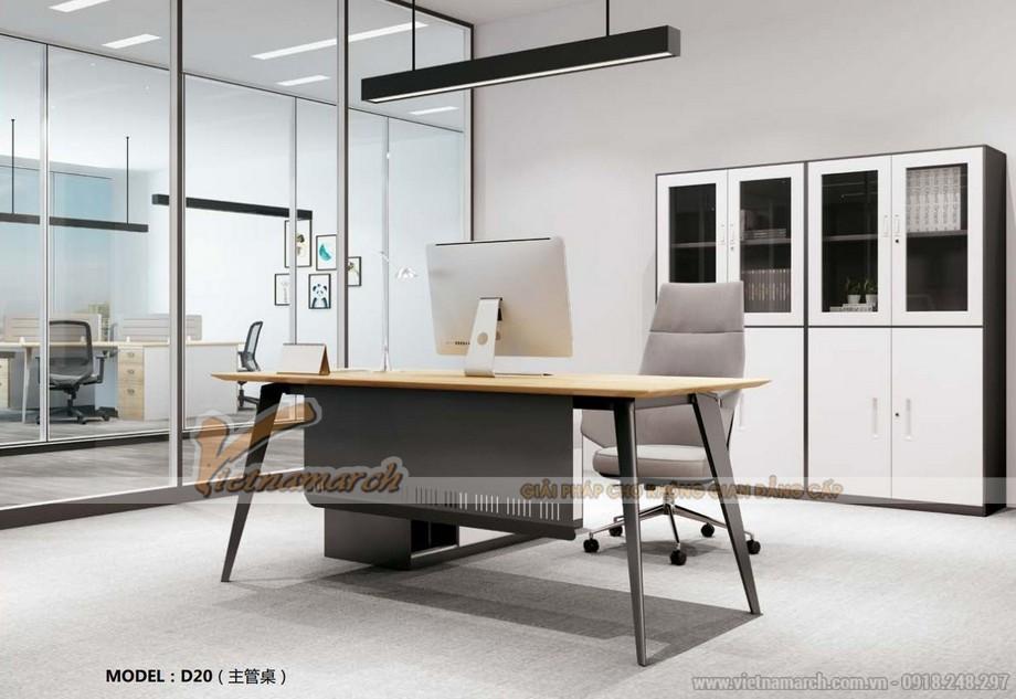 Mẫu bàn làm việc đa năng, hiện đại D20 với màu đen có thanh chắn cho phòng giám đốc