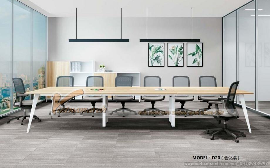Mẫu bàn làm việc cho văn phòng đa năng, hiện đại D20 kết hợp thành dãy bàn phòng họp lớn